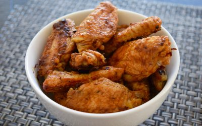 Baked Chicken Wings and Coleslaw